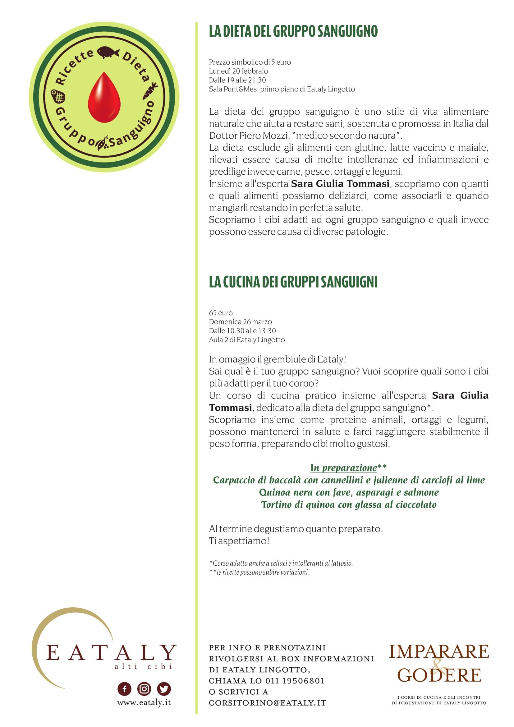 la cucina del gruppo sanguigno a eataly torino: evento - Corso Cucina Eataly
