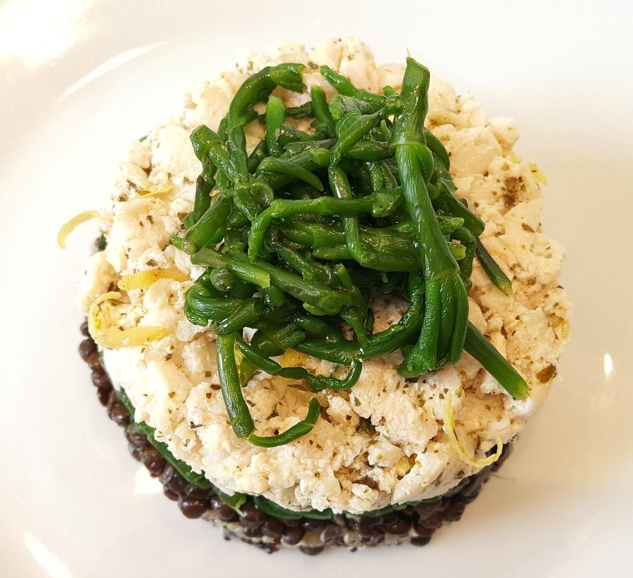 Quinoa, pesce spada e salicornia