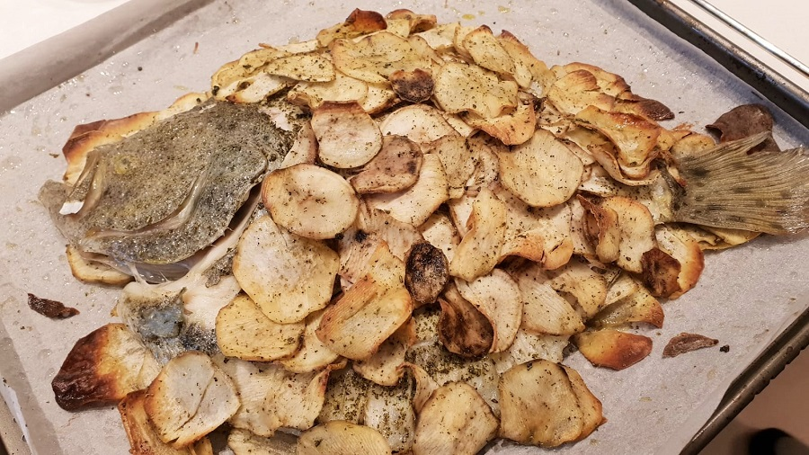 Rombo al forno con patate dolci