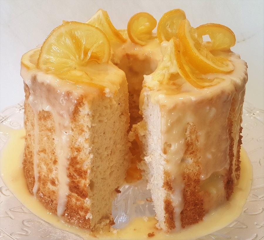 Angel cake con salsa al limone